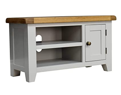 free shipping 16c10 6f7cf Arklow Painted Oak Dovetail Grey Small TV Stand/Oak TV Cabinet/Living Room  Storage