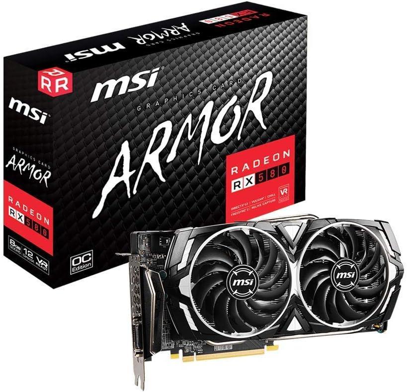 MSI Gaming Radeon Rx 580 256-bit 8GB GDRR5 HDMI/DP DirectX 12 VR Ready Dual Fan Crossfire Freesync Graphics Card (RX 580 Armor X) (Renewed)