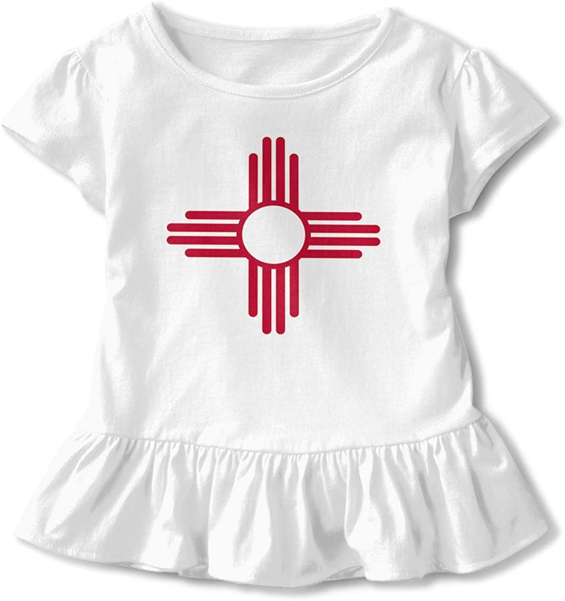Cheng Jian Bo New Mexico Flag Toddler Girls T Shirt Kids Cotton Short Sleeve Ruffle Tee