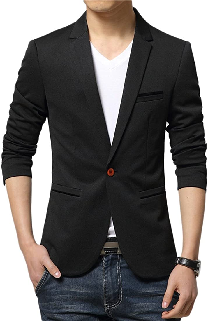Liveinu Mens Slim Fit Stylish Casual One Button Suit Coat Jacket Business Blazers Black 2XL
