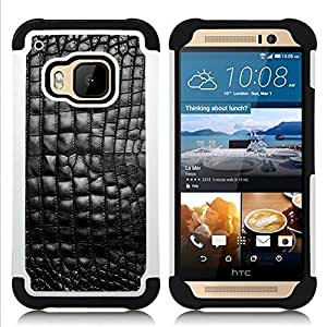 For HTC ONE M9 - Leather Black Shiny Bling Texture Pattern /[Hybrid 3 en 1 Impacto resistente a prueba de golpes de protecci????n] de silicona y pl????stico Def/ - Super Marley Shop -