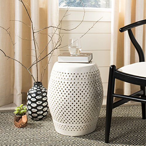 Safavieh Castle Gardens Collection Diamonds Cream Ceramic Garden Stool ()