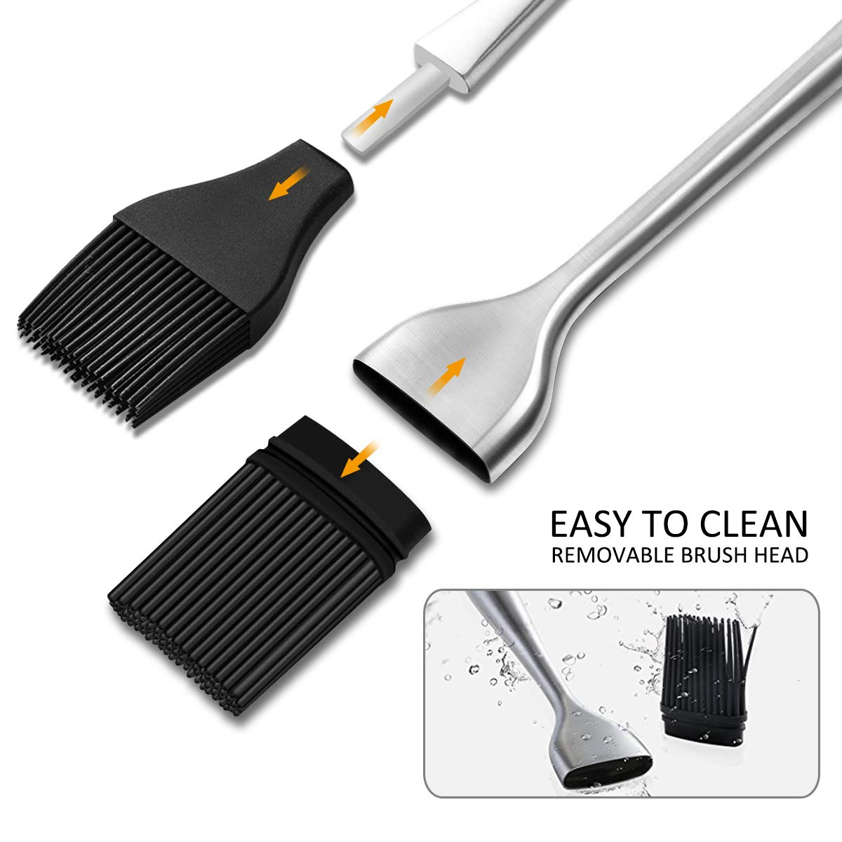Hcomine Set of 5 Basting Brush, Pastry Silicone/Grill/BBQ/Sauce/Butter/Oil Brush with Flexible Heatproof Stainless Steel Handle 12'' and 7.9'',Food Grade FDA Approved, Dishwasher Safe, Bristle Free. by Hcomine (Image #5)