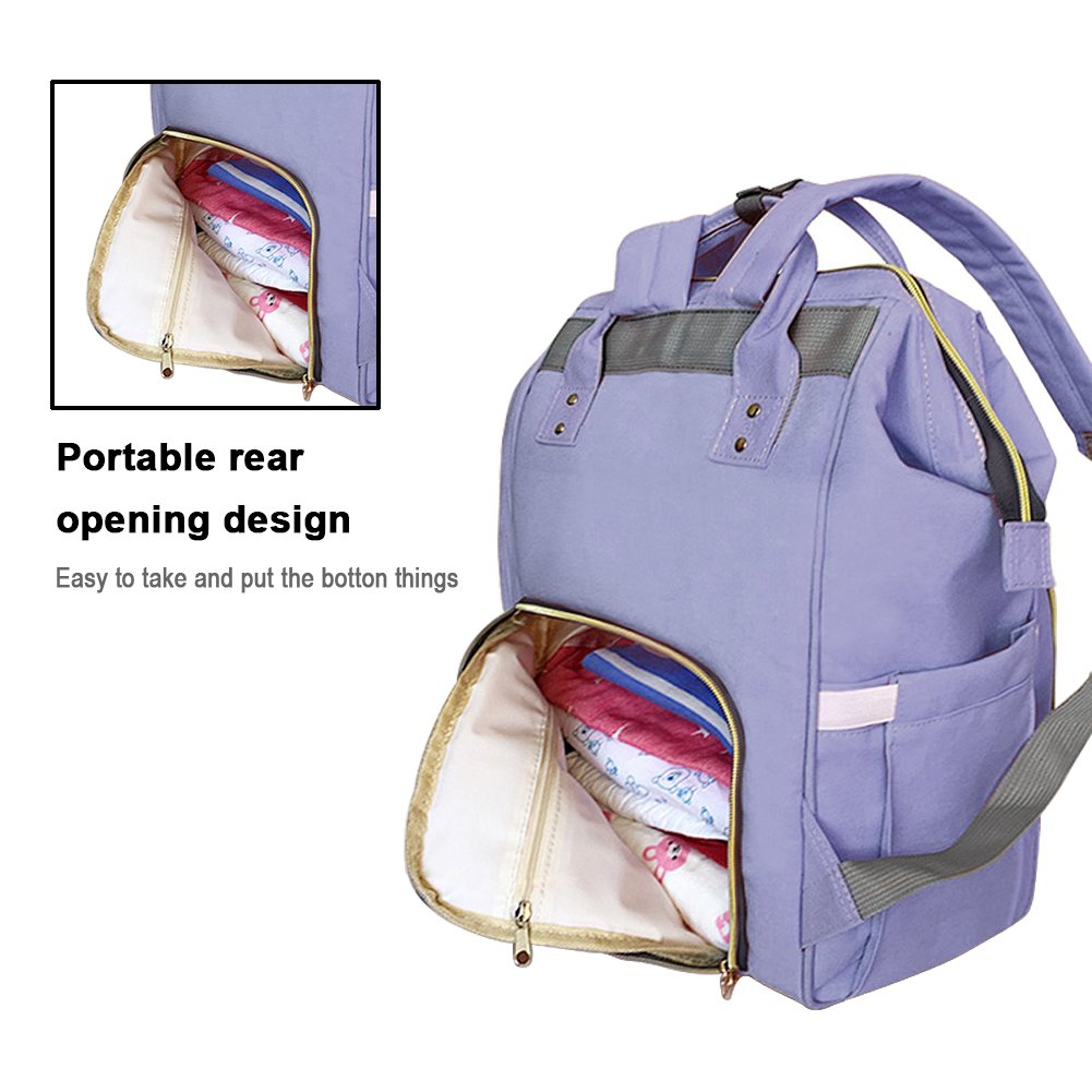 Diaper Backpack, Large Capacity Baby Bag, Multi-Function Travel Backpack Nappy Bags, Nursing Bag, Fashion Mummy, Roomy Waterproof for Baby Care, Stylish and Durable by Jewelvwatchro (Blue purple)