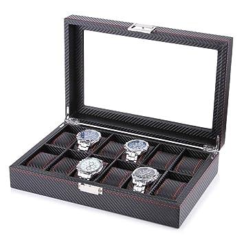 GOVD Caja Relojes 12 Hombre Mujer Caja para Guardar Relojes Organizador - Negro
