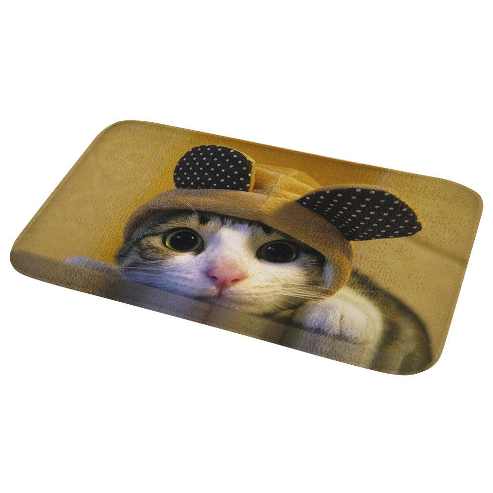 Bath Rugs Non-slip Flannel Kitchen Mat Pet Rug Cat Washable Doormats Floor Carpet 60×40 CM Mydours DD-6040-CAT