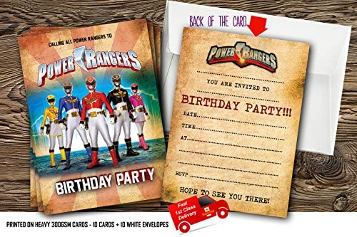 10 Invitaciones De Cumpleaños Con Diseño De Los Power Rangers Con 10 Sobres Gratis 40