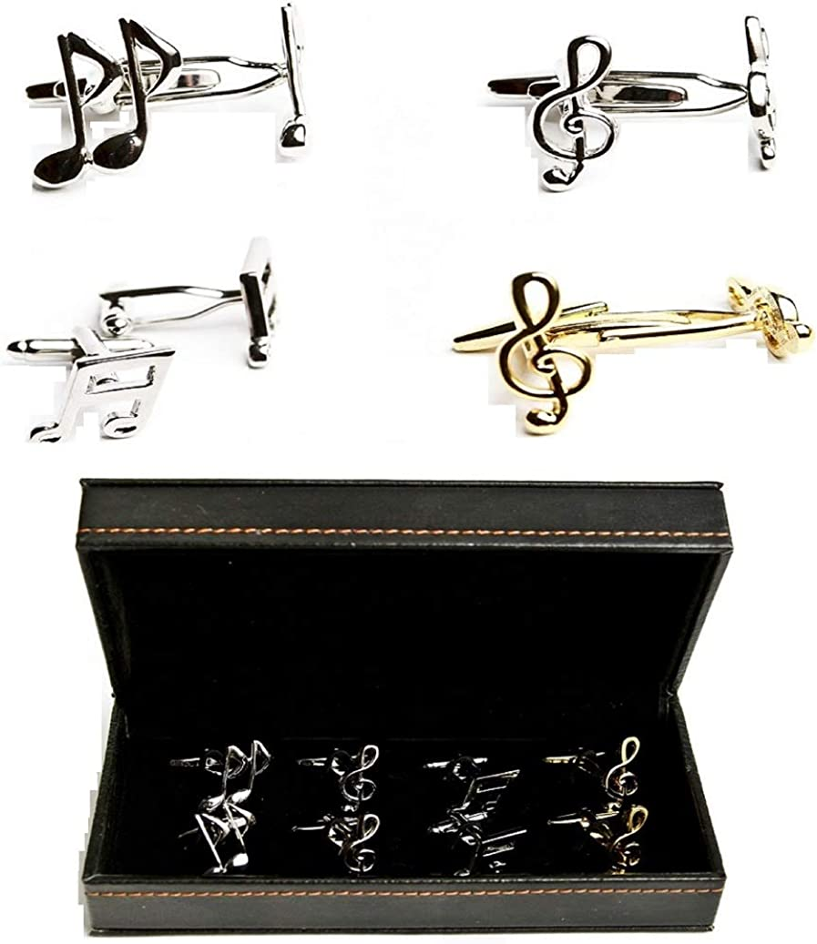 MRCUFF Music Notes Treble Banded Eighth 4 Pairs Cufflinks in a Presentation Gift Box & Polishing Cloth