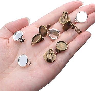 Pendientes Clip Componentes,20 Piezas Pendientes Bandejas Base Acero Inoxidable Soporte de Aretes Clip Sin Agujero para Hacer Joyas,10mm Diametro,Plata y Oro