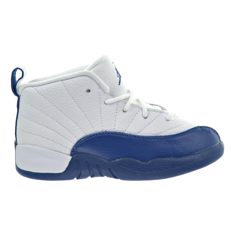 Jordan 12 Retro BT Toddler Shoes White/French Blue/Metallic Silver 850000-113 (7 M US)