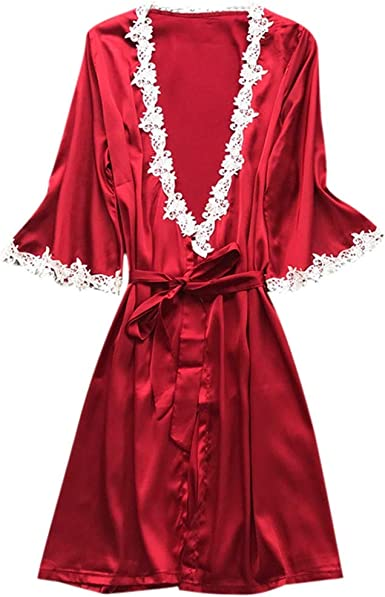 Red Made in USA Sleepwear Breastfeeding Baby Maternity Nightgown Clip Solid