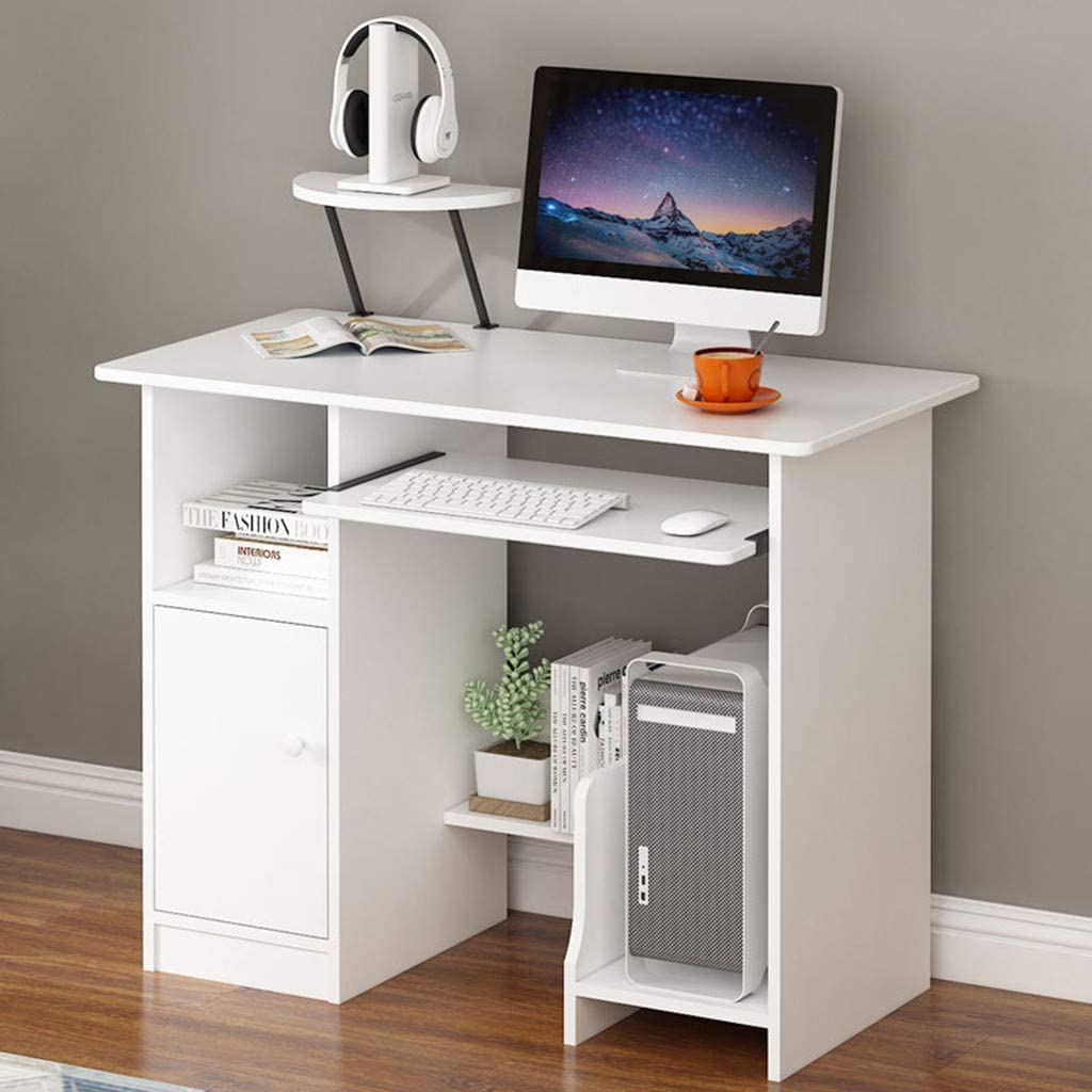 KAGG 35.4'' Computer Laptop Desk with Drawer Shelf, Modern Writing PC Table with Mainframe Rack, Working Laptop Writing Study Table Workstation for Home (White, 35.4(L)×18.9(W)×28.3(H) inches)