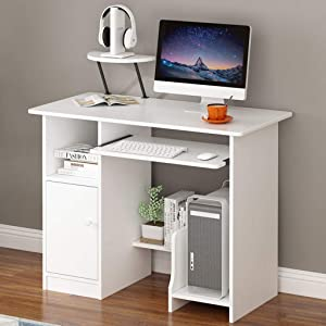 Desktop Computer Desk with Keyboard Tray - Airpow Home Office Wooden PC Laptop Desk with Lockers, Modern Writing Table Study Workstation with Storage Shelf (Shipped from USA, White)