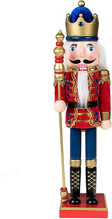 Amazon Com Clever Creations Traditional Wooden Royal King With Gold Crown Nutcracker Red Cape And Gold Crown And Scepter Festive Christmas Decor 15 Tall Perfect For Shelves And Tables 100