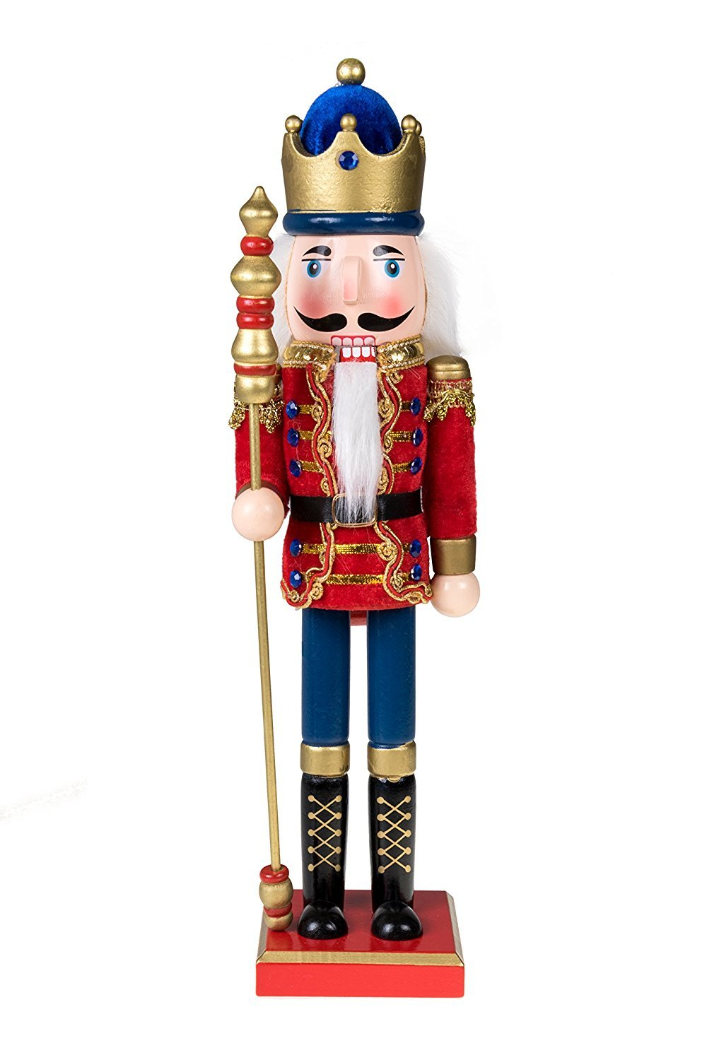 Clever Creations Traditional Wooden Royal King with Gold Crown Nutcracker Red Cape and Gold Crown and Scepter | Festive Christmas Decor | 15'' Tall Perfect for Shelves and Tables | 100% Wood