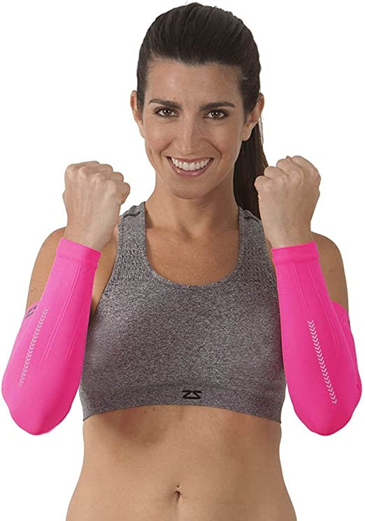 Zensah Reflective Compression Arm Sleeves Reflective Cycling Arm Warmers Night Running Arm Sleeves