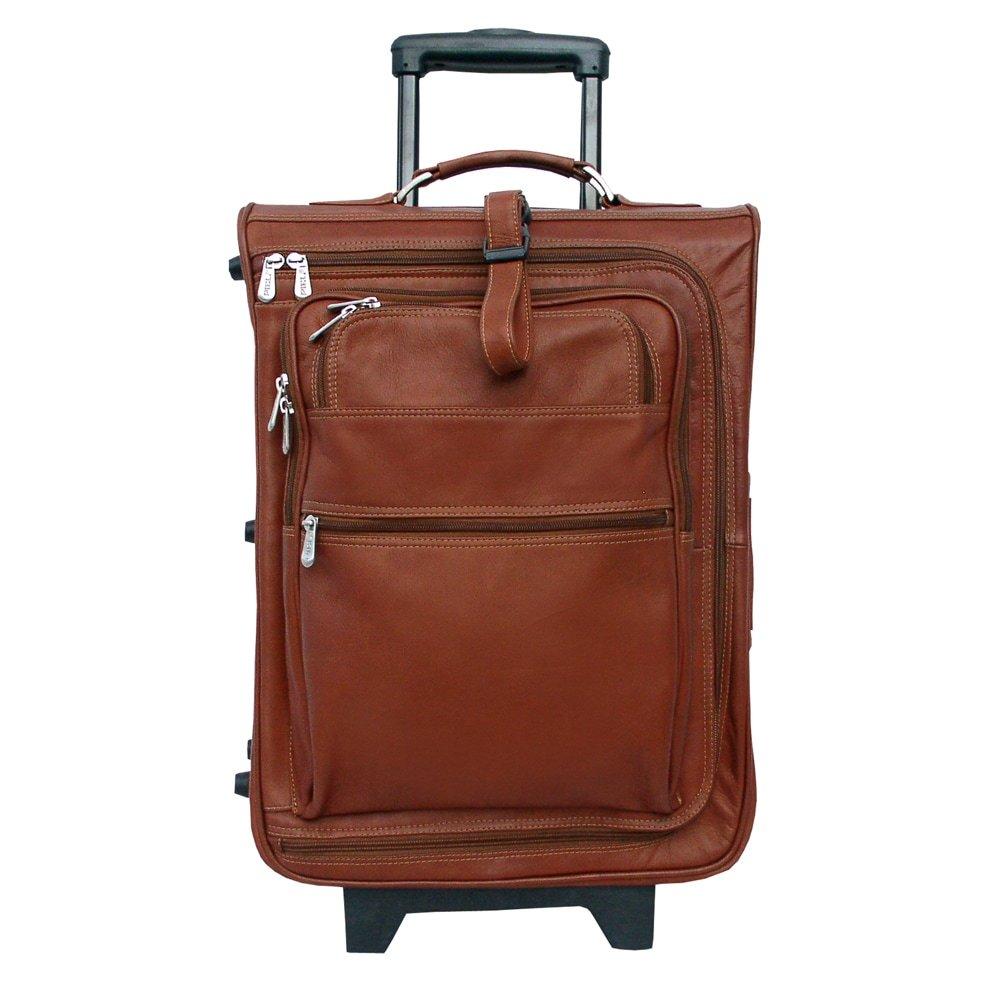 Piel Leather 19-inch Carry-on Multi-pocket Rolling Upright Suitcase Brown