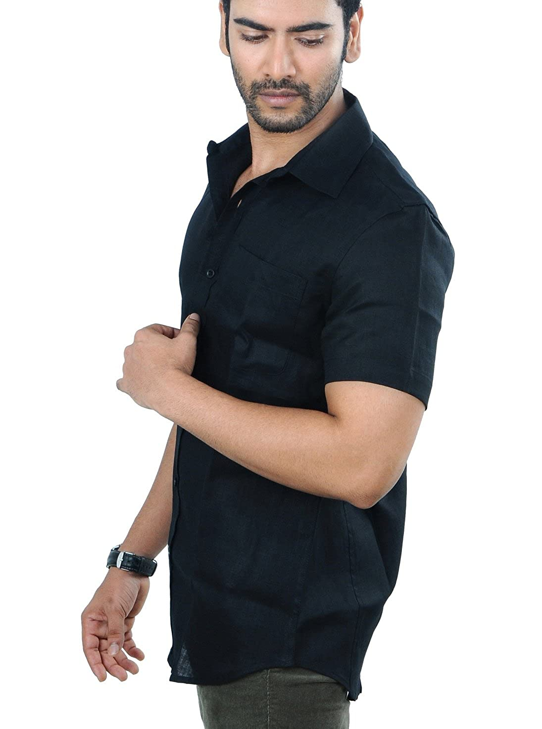 10054840 PANFILO 100% Linen Black Half Sleeve Shirt: Amazon.in: Clothing &  Accessories