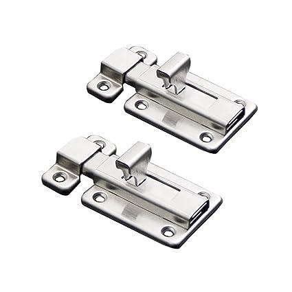 Paquete de 2 cerraduras para puerta corredera de acero inoxidable para puerta de inodoro, de