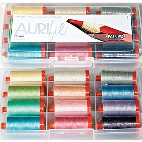 Aurifil Thread Set Pastel Collection 50wt Cotton 12 Large (1422 yard) Spools by Aurifil