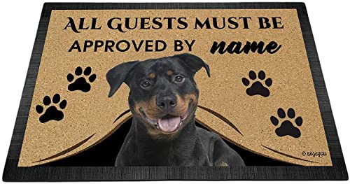 BAGEYOU All Guests Must be Approved Outdoor Doormat with My Love Dog Rottweiler Welcome Floor Mat Custom Name 35.4 x 23.6