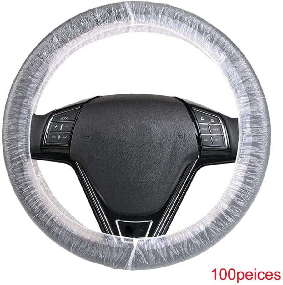 Steering Wheel Cover,100Pcs Universal Disposable Plastic Steering Wheel Covers,Transparent Car Dust-proof Cover
