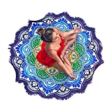 Large Round Lotus Flower Mandala Tapestry Beach Towel & Blanket Table Cloth Fringe Tassel Beach Blanket Yoga Mat (Purple)