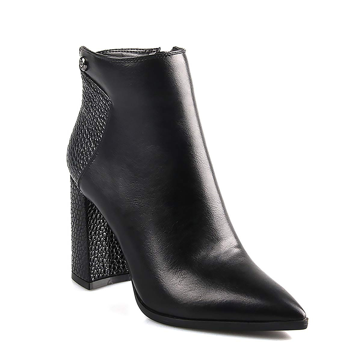 bd5fce0255c5 Amazon.com  perixir Chelsea Ankle Boots for Women Black Crocodile Embossed  Patchwork Combat Booties High Heel Pointed Toe Chunky Square Heel Classic  with ...
