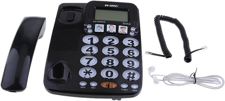 MagiDeal Teléfono Fijo de Casa de Hotel Teléfono de Marcación Rápida con Foto Amplificada Kx-2035cid: Amazon.es: Electrónica
