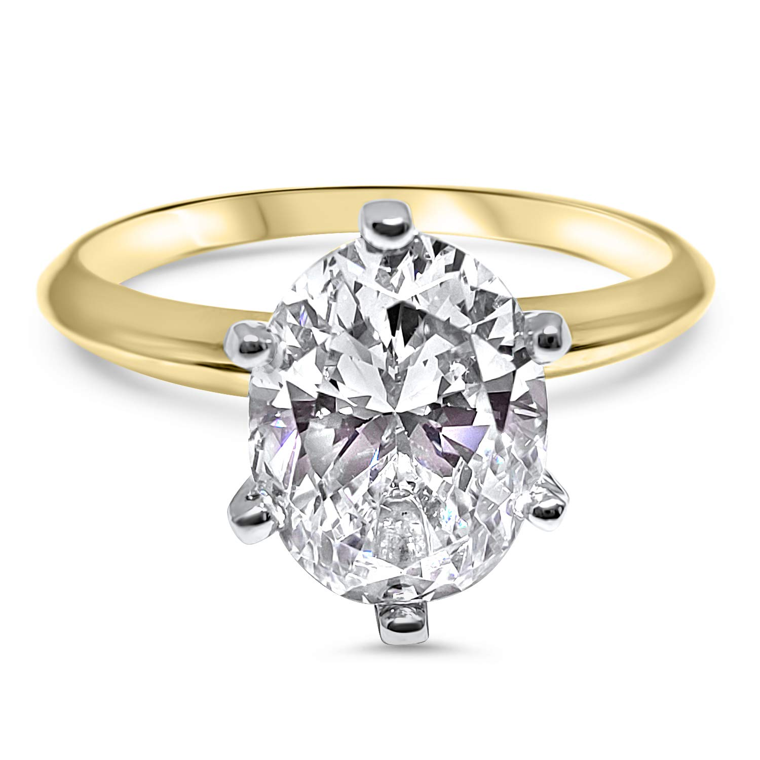 Eternal Jewelry Oval CZ Cubic Zirconia Engagement Ring 6 Prong 1.5 Carat 14K Yellow Gold (5.0)