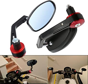 Frenshion Compatible for 7//8 22cm Aluminum Motorcycle Rear View Side Mirrors Handlebar Bar End Mirror Fit Black