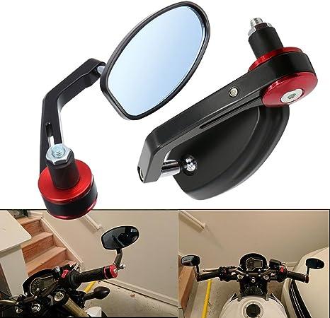 Frenshion 7 8 22mm Motorrad Spiegel Rückspiegel Lenkerendenspiegel Lenkerspiegel Rote Griffe Schwarz Auto