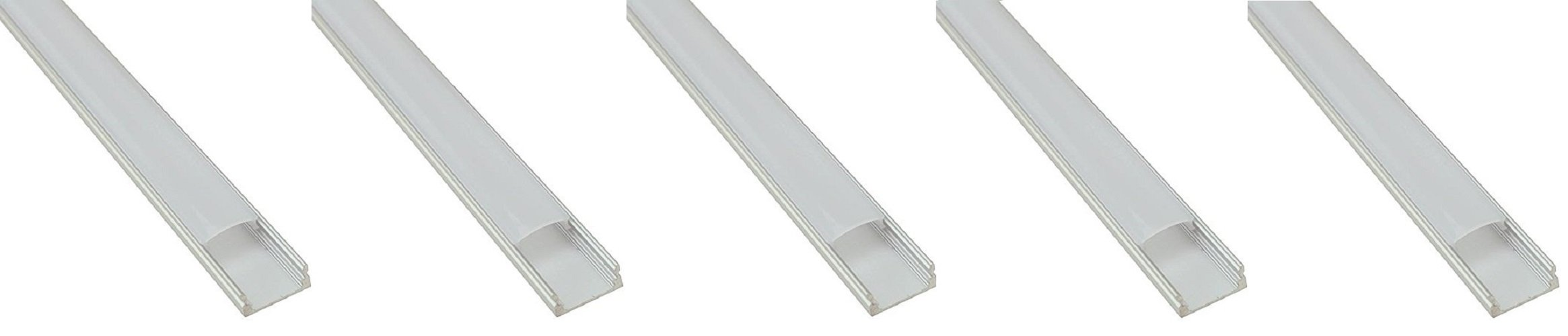 5-Pack Of Aluminum Channel For LED Lights By Ciata Lighting | U-Shape Extrusions For LED Strips With Frosted Cover& CompactDesign | With End Caps &Mounting ClipsIncluded For Easy Installations