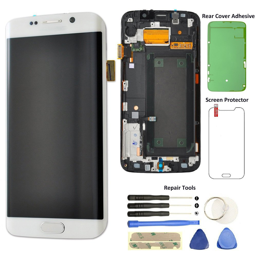 Display Touch Screen (AMOLED) Digitizer Assembly with Frame for Samsung Galaxy S6 Edge (5.1 inch) AT&T (G925A) / T-Mobile (G925T) / Global (G925F) (for Phone Repair) (White Pearl) by AiYiA (Image #1)