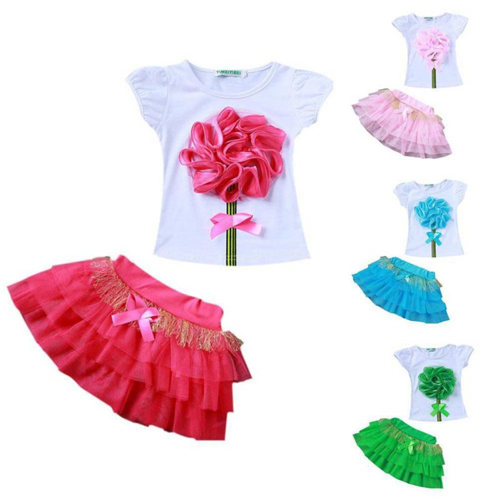ESHOO Baby Girls Flower T-Shirt Top Tutu Skirt Outfits 2pcs Clothing Sets