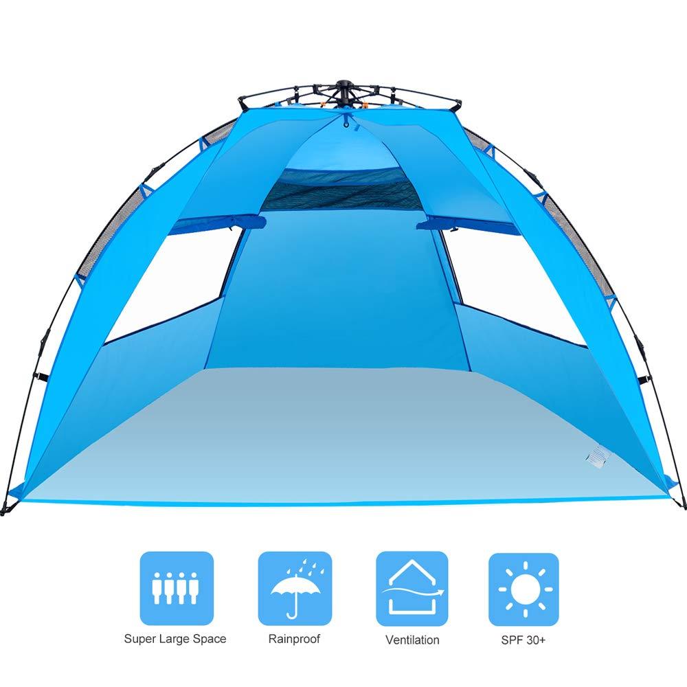 Amagoing 3-4人用 インスタントポップアップビーチテント サンシェルター 家族 ビーチパラソル アウトドア ハイキング 釣り キャンプ ピクニック用   B07MVZ1BFW