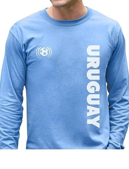 TeeStars - Uruguay National Soccer Team Soccer Fans Long Sleeve T-Shirt  Small Light Blue 55374d789