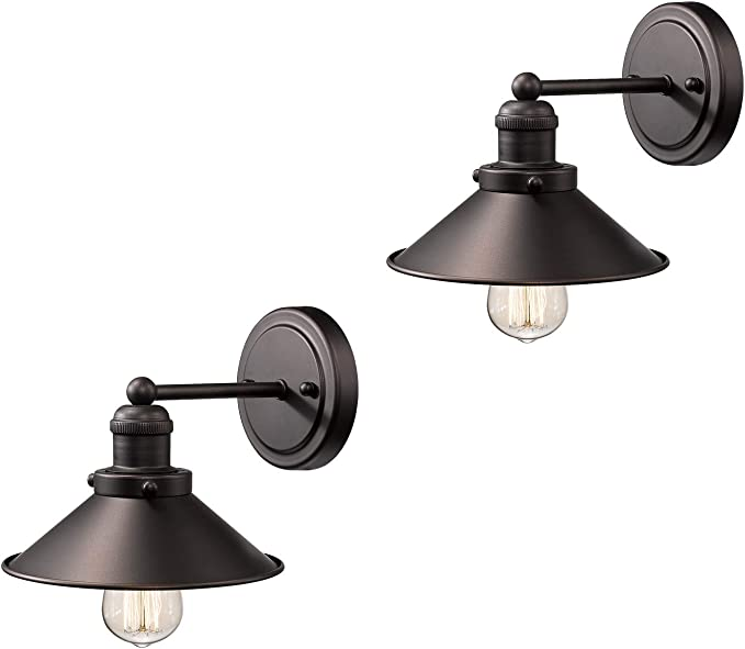 Zeyu Bathroom Wall Sconce 2 Pack Vintage Vanity Lights In Oil Rubbed Bronze Finish With Metal Shade 102 1w2 Orb Amazon Com
