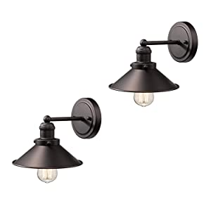 Zeyu Bathroom Wall Sconce 2 Pack, Vintage Vanity Lights in Oil Rubbed Bronze Finish with Metal Shade, 102-1W2 ORB