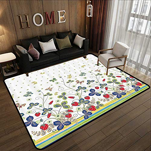 Floor mat,Floral Decor,Flowers Ivy Swirls with Leaves Bows and Butterflies White Background with Dots,Multicolor 55
