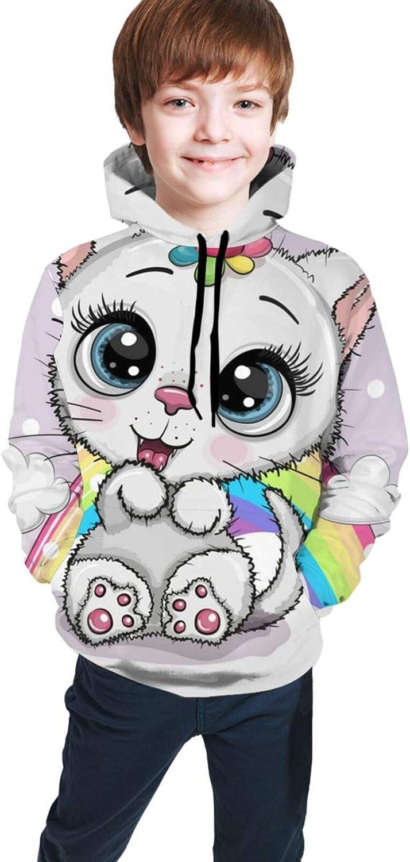 Blanco Gatito con cuerno Un gato con capucha Sudor Unisex 3D Impreso Jersey Casual Sudadera con capucha de manga larga Casual Top Sudaderas con bolsillos