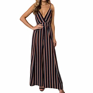 e5054b61a63d Jumpsuits Women Jamicy Ladies Striped Strap Summer Holiday Long Wide Leg  Pants Playsuits  Amazon.co.uk  Clothing