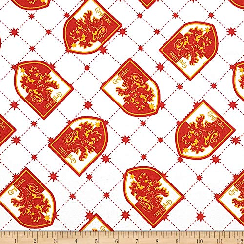 (Camelot Fabrics Wizarding World Gryffindor House Pride Fabric, 1, White, Fabric by the)