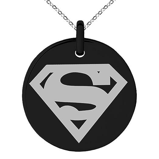 Amazon Black Stainless Steel Dc Superman Logo Engraved Small