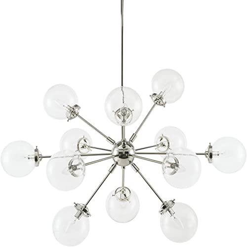 Ink Ivy Paige Twelve Modern Chandeliers-Height Adjustable, Plated Finish, Glass Sphere Shades Pendant Sputnik Ligthing Lamp Ceiling Dining Room Lighting Fixtures Hanging, LED Compatible, Silver