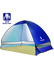 Elover Pop Up Beach Tent Outdoor Instant Automatic Beach Shelter Family Tent for 3-4 Persons Portable Anti UV Tent for Beach, Camping, Garden, Fishing, Picnic