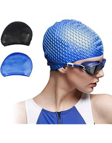 114d077204655 Trevoz Swim Cap Women Silicone Swimming Cap for Long Hair Curly Braids Hair  Unisex Adult
