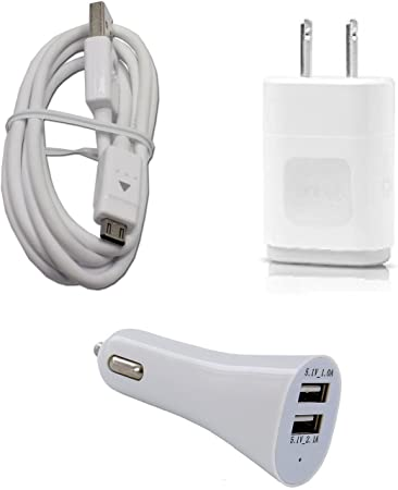 ORIGINAL OEM LG WALL HOME CHARGER WITH LG MICRO USB DATA CABLE+DUAL USB CAR CHARGER ADAPTER FOR T-MOBILE LG ARISTO (Hibatul Inc Brand)