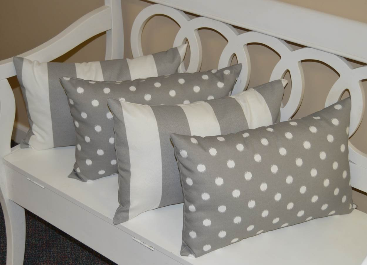 Set of 4 Indoor Outdoor Decorative Lumbar Rectangle Pillows – 2 Gray and White Ikat Polka Dot Gray and White Stripe