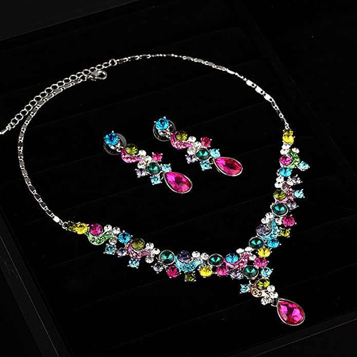 5ad45f0af093 Amazon.com: FAYBOX Glamorous Crystal Rhinestone Beading Necklace Earrings  Wedding Jewelry Sets Colorful: Jewelry